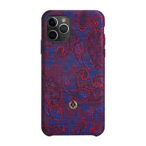 Blue and Red Paisley Silk iPhone 11 Pro Case