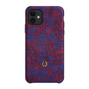 Blue and Red Paisley Silk iPhone 11 Case