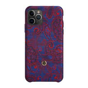 Blue and Red Paisley Silk iPhone 11 Pro Max Case