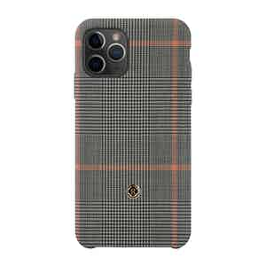 Grey and Orange Wool Prince of Wales Check Taormina iPhone 11 Pro Case
