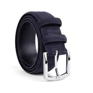 Deep Blue Classic Suede Leather Belt Alfredo