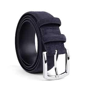 Deep Blue Classic Suede Leather Belt Alfredo