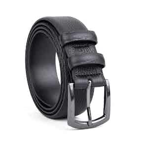 Black Classic Pebble Leather Belt Laurent