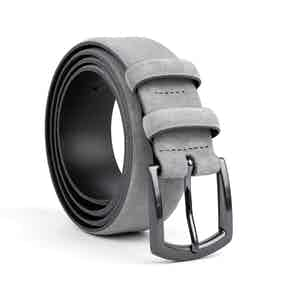 Grey Classic Leather Belt Umberto