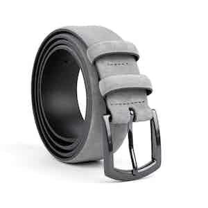 Grey Classic Leather Belt Umberto