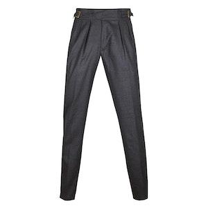 Dark Grey Wool Flannel Pleated Manny Trousers