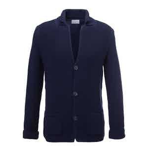 Dark Blue Augustin Merino and Cashmere Single-Breasted Jacket