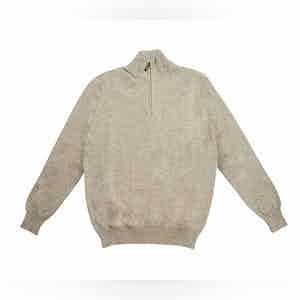 Grey Half Zip Cashmere Funnel Neck Sweater