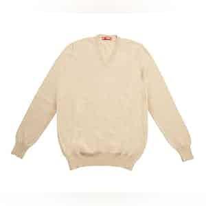 Beige Cashmere V-Neck Sweater