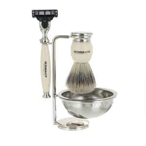 Ivory and Chrome 4 Piece Shaving Set