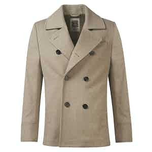 Beige Unlined Wool Pea Coat