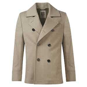 Beige Unlined Wool Pea Coat