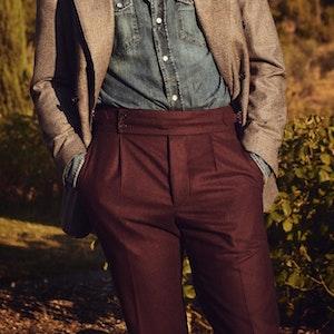 Clyde Vitale Barberis Canonico Burgundy Wool Trousers