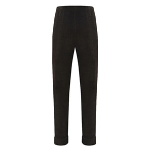 Dark Brown Thick Corduroy High Waisted Trousers
