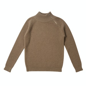 Beige Driving Sweater With Quarter Side Zip