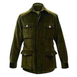 Dark Olive Wale Corduroy Travel Jacket