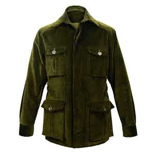 Dark Olive Wale Corduroy Travel Jacket