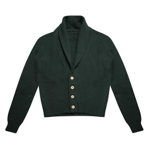 Dark Green Shawl Collar Lambswool Cardigan