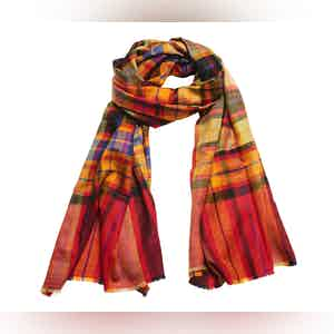 Red and Green Tartan Check Cashmere Scarf