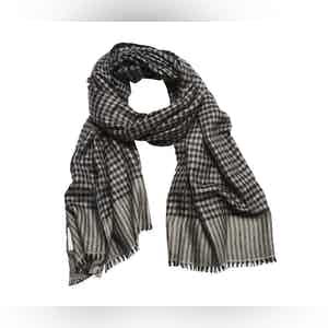 Navy and Grey Woven Houndstooth Cashmere Scarf