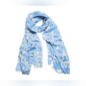Sky and Cream Ikat Silk and Cashmere Scarf