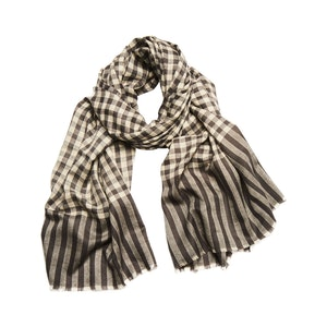 Charcoal and Ivory Tartan Check Cashmere Scarf