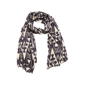 Navy and Cream Ikat Silk and Cashmere Scarf