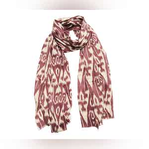 Plum and Cream Ikat Silk and Cashmere Scarf
