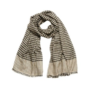 Black and Ivory Woven Houndstooth Cashmere Scarf