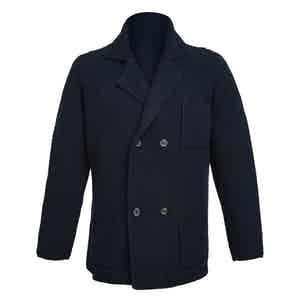 Navy Double-Breasted Merino and Cashmere Jacket