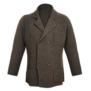 Chocolate Double-Breasted Merino and Cashmere Jacket