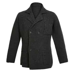 Charcoal Double-Breasted Merino and Cashmere Jacket