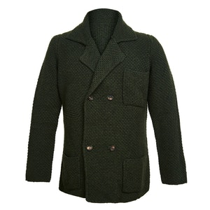 Dark Green Double-Breasted Merino and Cashmere Jacket