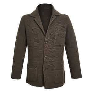 Chocolate Single-Breasted Merino and Cashmere Jacket