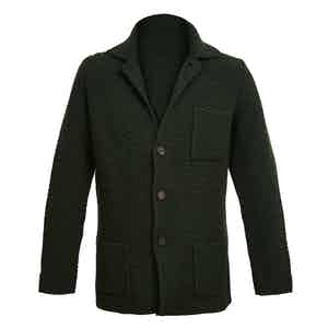 Dark Green Single-Breasted Merino and Cashmere Jacket