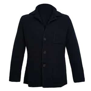 Navy Single-Breasted Merino and Cashmere Jacket