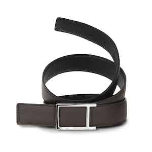 Black and Ebony Bull-Calf Reversible Palladium Buckle Belt