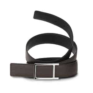 Black and Ebony Bull-Calf Reversible Palladium Buckle Belt