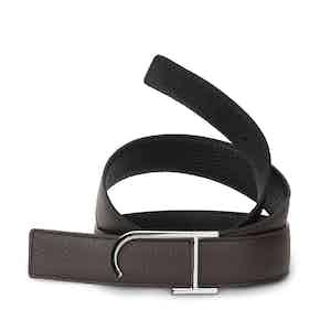 Ebony and Black Bull-Calf Reversible Palladium Buckle Belt