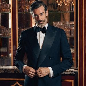 Midnight Blue VBC Italian Mohair Double-Breasted Tuxedo Jacket