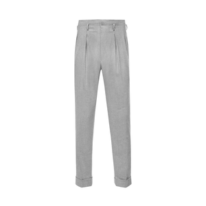 Light Grey Hollywood Top Pleated Wool Trousers