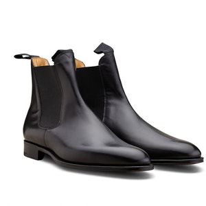 Black Newmarket Leather Chelsea Boots