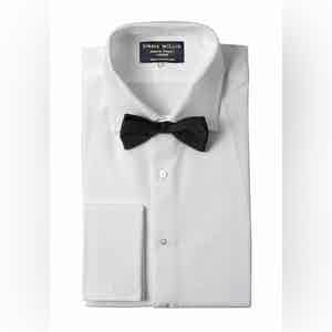 White Pique Bib Evening Cotton Shirt