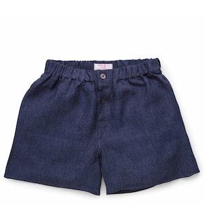 Navy Patchwork Linen Boxer Shorts