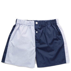 Navy Patchwork Cotton Boxer Shorts