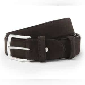 Dark Brown Suede with Silver Buckle Belt