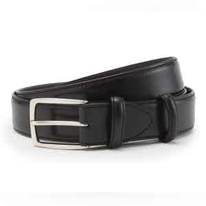 Black Polished Leather with Silver Buckle Belt