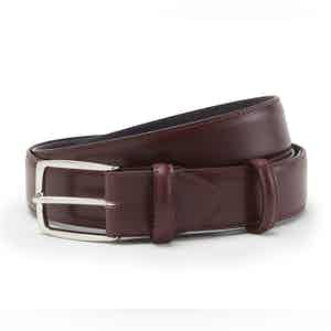 Burgundy Polished Leather with Silver Buckle Belt