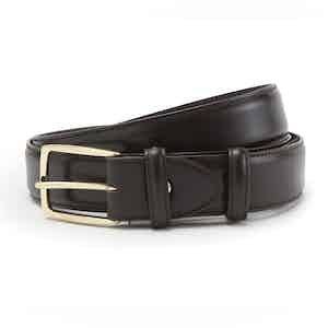 Brown Polished Leather with Golden Buckle Belt