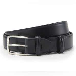 Navy Polished Leather with Silver Buckle Belt